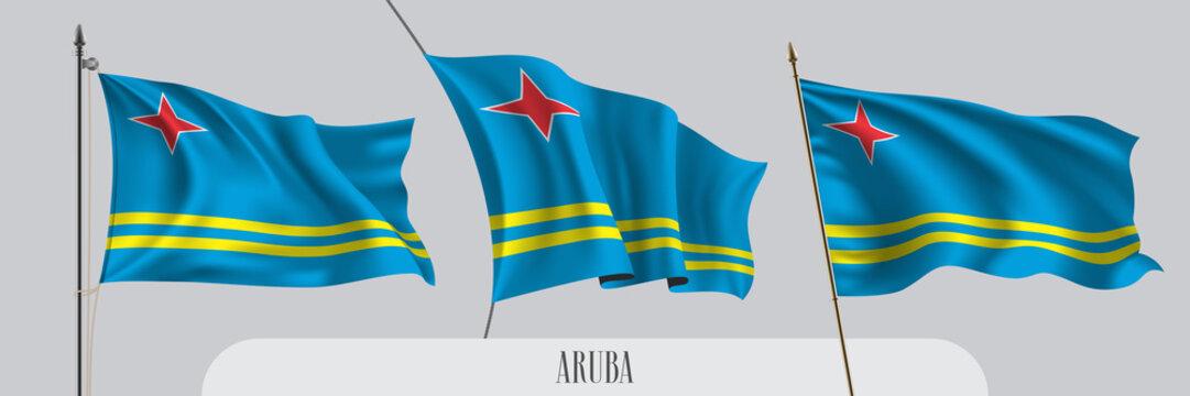 Set of Aruba waving flag on isolated background vector illustration