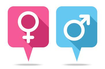 Sprechblasen Icons Weiblich & Männlich Abgerundet Pink/Blau