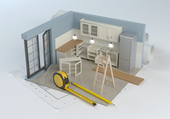 Kitchen project and assembly of furniture, 3D illustration