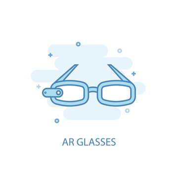AR glasses concept trendy icon. Simple line, colored illustration