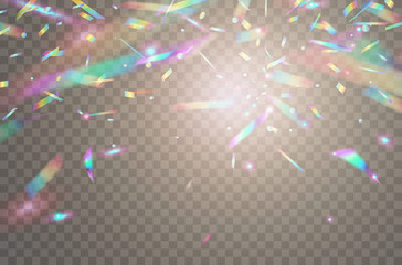 Holographic falling confetti isolated on transparent background. Rainbow iridescent overlay texture. Vector festive foil hologram tinsel with bokeh light effect and glare glitter. Wall mural