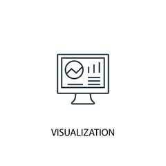 visualization concept line icon. Simple element illustration. visualization concept outline symbol design. Can be used for web and mobile UI/UX