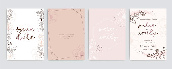 Obraz Golden Pink Wedding Invitation, floral invite thank you, rsvp modern card Design in white Peony  with red berry and leaf greenery  branches decorative Vector elegant rustic template - fototapety do salonu