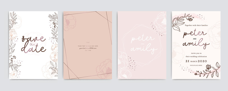 Golden Pink Wedding Invitation, floral invite thank you, rsvp modern card Design in white Peony  with red berry and leaf greenery  branches decorative Vector elegant rustic template