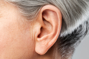 hearing, body part and old age concept - close up of senior woman ear Wall mural