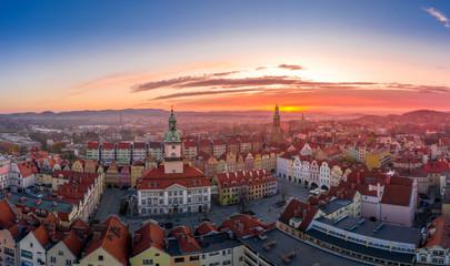 Sunset over Jelenia Góra aerial view Fototapete