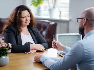 Plus size woman attending job interview