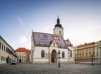 Fototapete - St. Marko's church in Zagreb early morning - Croatia