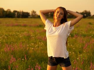 Happy  and serene behavior woman  outdoor