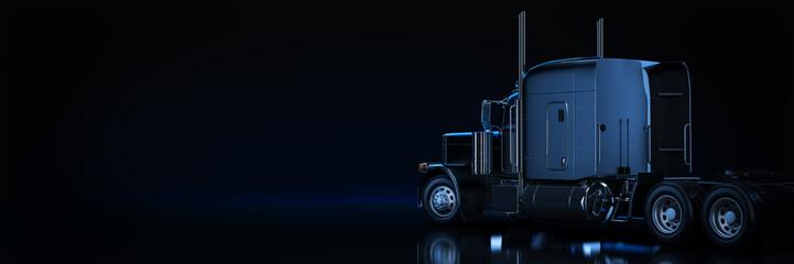 Black heavy truck. 3d rendering Fototapete