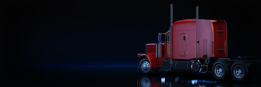 Red heavy truck. 3d rendering