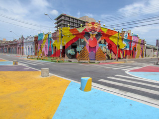 Colorful colonial houses of Fortaleza, Brazil