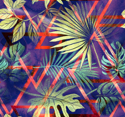 Wall Murals Botanical Seamless pattern with tropical leaves and geometric shapes. Tropical background.