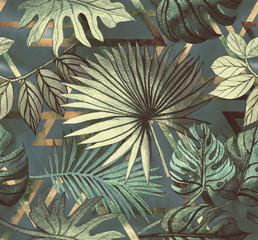 Seamless pattern with tropical leaves and  geometric shapes. Tropical  background.