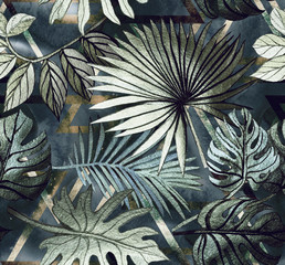 Foto auf Gartenposter Botanisch Seamless pattern with tropical leaves and geometric shapes. Tropical background.