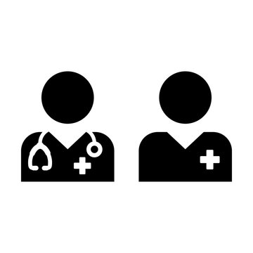 Health care icon vector male doctor and patient person profile avatar for medical consultation in glyph pictogram illustration