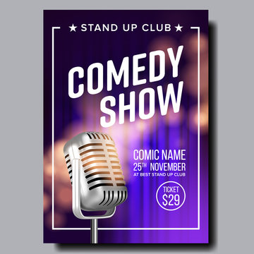 Poster Invitation To Comedy Show In Club Vector. Old Metal Microphone Violet Curtain On Background Banner With Date, Ticket Price And Place Of Show. Retro Style Realistic 3d Illustration