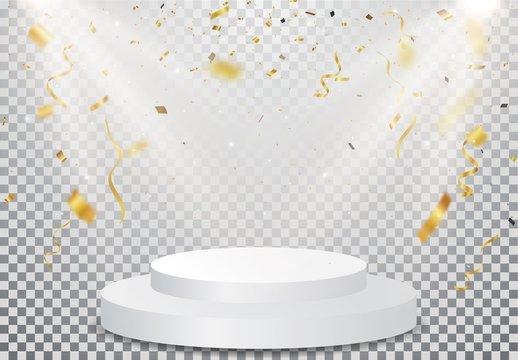 winner podium with Gold confetti celebration on transparent background