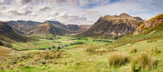 Panoramic view of Upper Langdale in the Lake District, Cumbria, England, UK.