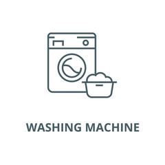 Washing machine,laundry service vector line icon, outline concept, linear sign