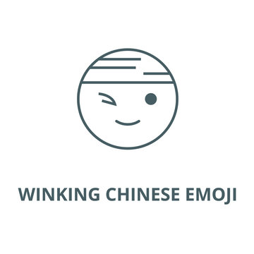 Winking chinese emoji vector line icon, outline concept, linear sign