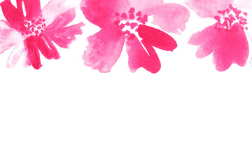 Watercolor floral border in shades of pink. Hand-painted stationery card template.