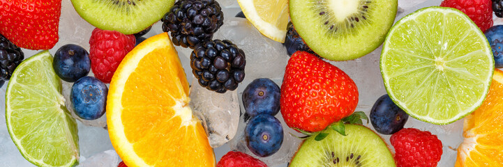Fruits berry food background banner oranges strawberries ice cubes fresh fruit