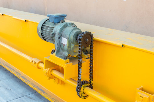 Parts of a bridge crane ready for installation in the industrial plant.