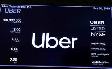Screens display Uber Technologies Inc. logo during the company's IPO at the NYSE in New York