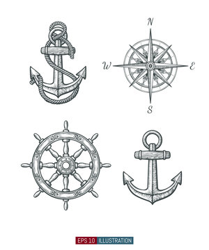 Hand drawn sea symbols set. Compass, ship wheel, anchors. Template for your design works. Engraved style vector illustration.