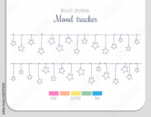 Mood tracker with hanging stars for 31 days of a month