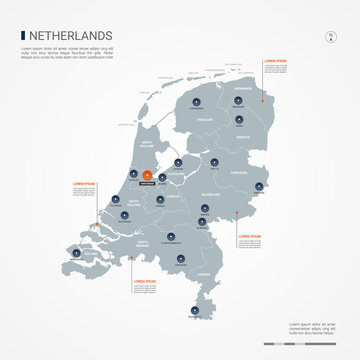 Netherlands map with borders, cities, capital and administrative divisions. Infographic vector map. Editable layers clearly labeled.