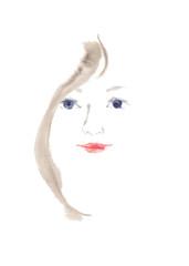女性の顔、正面