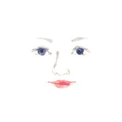 女性の顔、素材