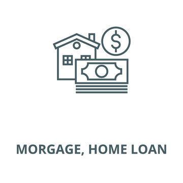 Morgage, home loan vector line icon, outline concept, linear sign