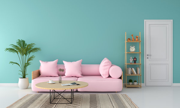 Pink sofa in living room, summer color concept, 3D rendering