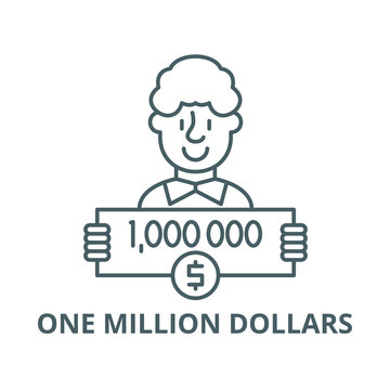 One million dollars vector line icon, outline concept, linear sign