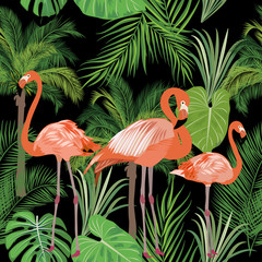 Tropical plant seamless pattern, pink flamingo and tropical leaves of palm tree.