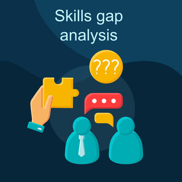 Skills gap analysis flat concept vector icon