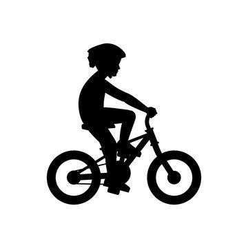 Boy riding bike. isolated on white background