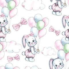 Happy Birthday watercolor seamless patterns with cute animals, toys, cars, blocks, balloons for kids, baby shirt design, nursery decor, card making, party invitations, scrapbooking, packaging, posters