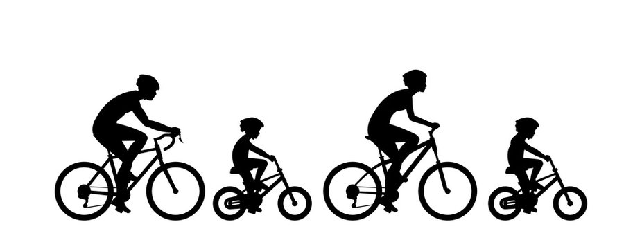 Happy family riding bicycle together. Group of people riding bikes. isolated on white background