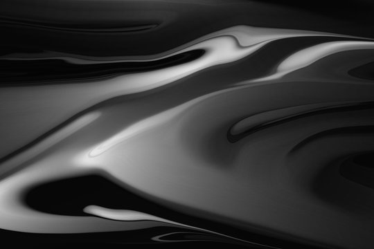 3d liquid metal abstraction. black and white oil mass