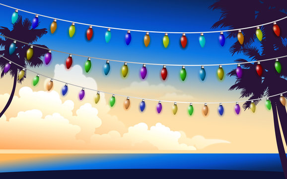 colorful hanging light on the beach in sunset