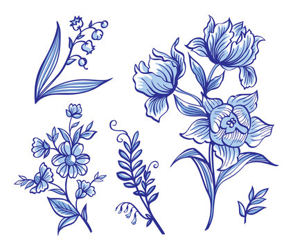A set of decorative flowers in the Dutch style. Painted Delft, gzhel, china.