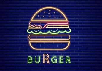 Fototapeta Neon burger Vector poster. Glowing sign fastfood light billboard symbol. Cafe menu items obraz