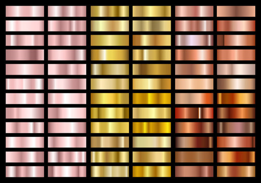 Set of gold rose, gold and copper foil texture gradation background. Metallic gradient swatches. Shiny Metal gradient palette collection. Isolated on black background. Vector illustration.