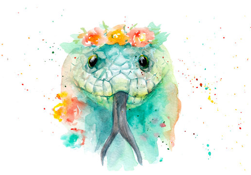 watercolor drawing of an animal - a snake in flowers