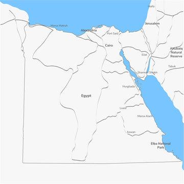 Detailed vector map Egypt.