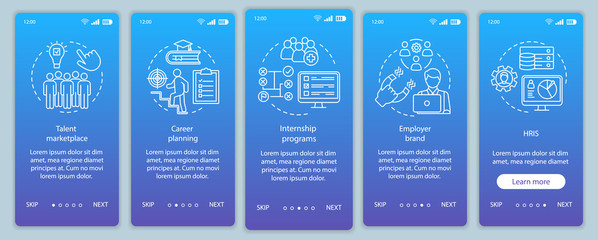Talent management onboarding mobile app page screen vector template